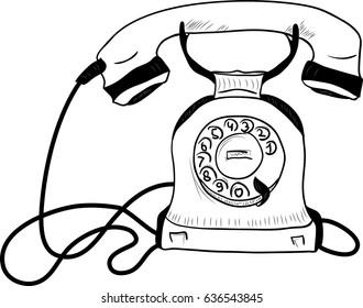 retro phone handset sketch illustration stock vector royalty free Old Retro Phones retro phone handset sketch illustration