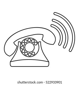 Retro phone ringing icon. Outline illustration of retro phone ringing vector icon for web