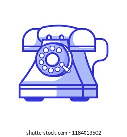 Retro phones with rotary dial icon. Vintage land-line telephone in line style. Obsolete wired call up device in logotype template.