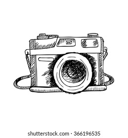 Retro photo camera. Hand drawing illustration.