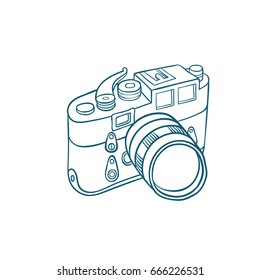 Retro photo camera - Hand-drawn doodle sketchy ink vector illustration