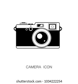 Retro Photo Camera Icon. Vector Illustration. Black Icon isolated on White Background. Line Graphic Style.