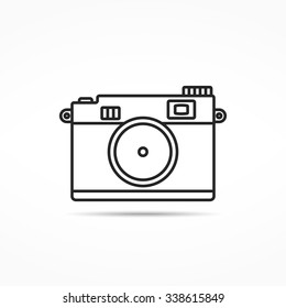Retro photo camera line icon, vector eps10 illustration