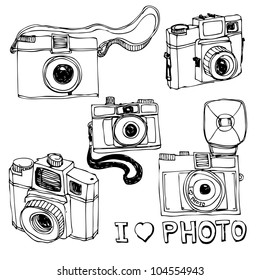 Retro photo camera set in vector