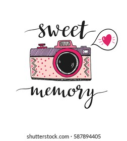Retro photo camera with stylish lettering - Sweet memory. Vector hand drawn illustration. Print for your design.