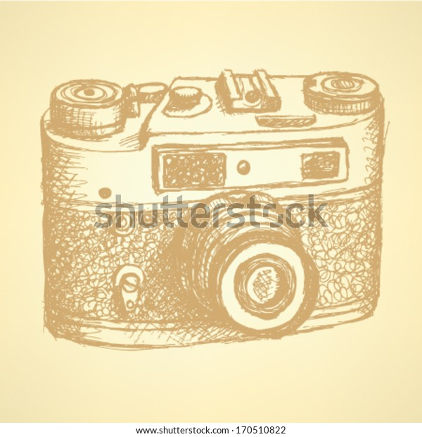 Retro photo camera, vintage sketch background