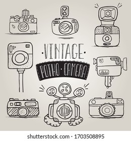 Retro photo cameras set. Hand drawn set of vintage photo camera. Vector illustration.