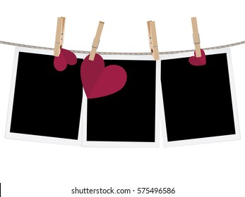 Retro photo frame and hearts on a rope with pegs.