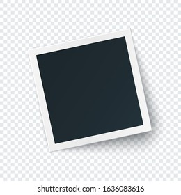 Retro photo frame image template, square photography isolated with big shadow in realistic style.