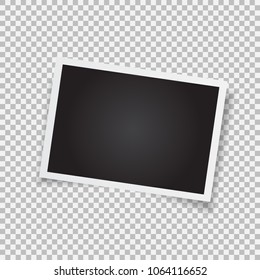 Retro photo frame. Realistic vector object with figured edges. Template photo design on a transparent background.