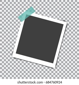 Retro photo frame with shadow on sticky tape pin on a transparent background