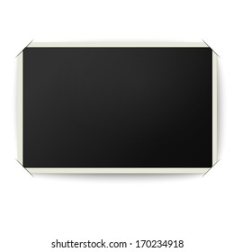 Retro photo frame with straight edges in photo album