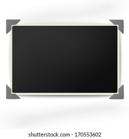 Retro photo frame with straight edges in vintage photo corners isolated on white background