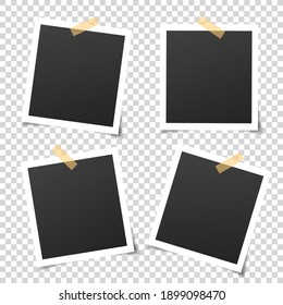 Retro photo frames. 4 empty square pictures with white boarders.  Vintage paper photograph for memory album, scrapbook. Decorative banner for websites. Birthday greeting cards. Vector photo frame set