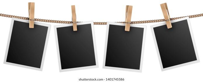 Retro photo frames hanging on rope isolated on white background vector illustration