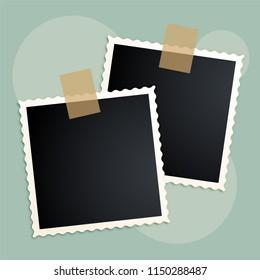 retro photo frames scrapbook design