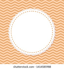 Retro photoframe, spare place in round frame isolated on striped pink or purple background. Vector poster template with ornamental gentle napkin