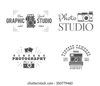 Retro Photography Badges, Classic camera Labels. Monochrome design with stylish old cameras and elements. Vintage style for photo studio, photographer, equipment store. Sign, logo templates. Vector.