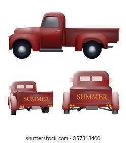 Retro pickup car old vector design set