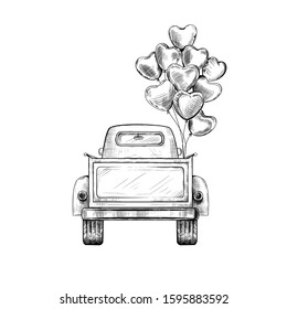 Retro pickup truck with balloons. View from behind. Vector vintage illustration. Ink sketch.