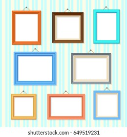 Retro picture image cartoon frames vector set