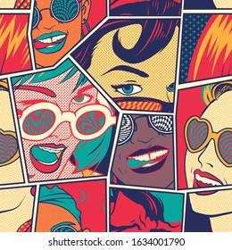 Retro Pin Up Girls Seamless Pattern. Background Wallpaper