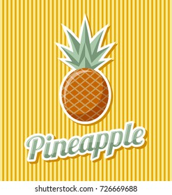 Retro pineapple with title on striped background