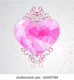 Retro pink heart with hipster triangle pattern and elegant crimson ringlets on geometric background