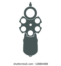 Retro pistol silhouette front view as gun symbol illustration.