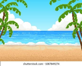 Retro pixel 8 bit background. beach, palm
