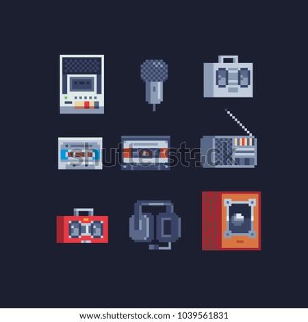 fe0f82993dc7 Retro Pixel Art 80 S Style Music Stock Vector (Royalty Free ...
