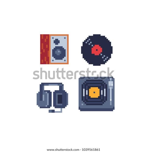 Retro Pixel Art 80s Style Music Stock Vector (Royalty Free