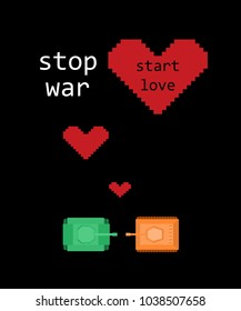 Retro pixel art game poster with tanks. Love and peace concept with hearts