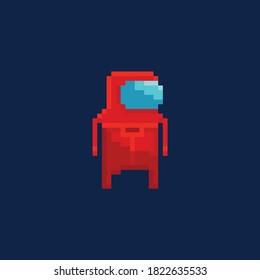 Retro Pixel Kunstillustration des Astronauten in einem roten Anzug, Cartoon 8-Bit-Spiel-Design-Charakter