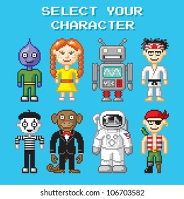 Retro pixel art illustration of various video game style characters.