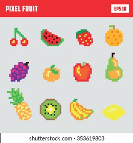 Retro pixel fruit, game icon set