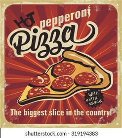 Retro pizza sign, background, template pizza box design. Retro pizzeria poster on old paper texture. Layered.