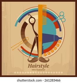 Retro placard: Hairdressing Amenities abstract composition with scratched background
