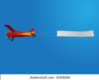 retro plane pulling banner on blue sky