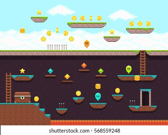 Retro platformer video game, vector gaming screen. Computer pixel game interface, illustration of platformer for vintage game.