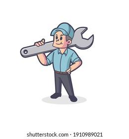 Retro Plumber Mascot Vector Logo