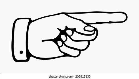 retro pointing hand in black and white