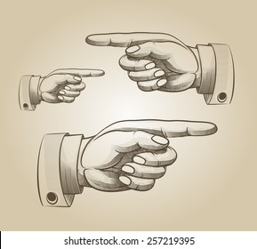 Retro pointing. Vintage and direction, finger-pointing and showing. Vector illustration