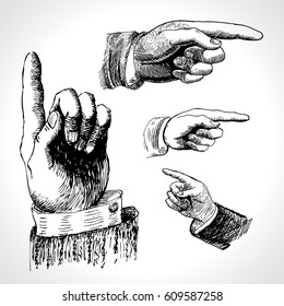 Retro pointing. Vintage and direction, finger-pointing and showing. Vector set pointing hand drawing