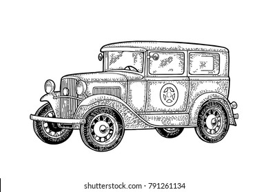 Retro police car sedan with sheriff star. Side view. Vintage black engraving illustration for poster, web. Isolated on white background. Hand drawn design element for label and poster