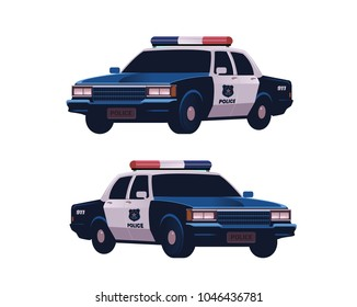 Retro police cars set. Isometric view. Police transport isolated on the white background.
