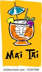 Retro Polynesian Tropical Mai Tai Tiki Cocktail Drink Vector Illustration