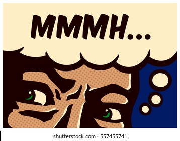 Retro pop art comic book panel perplexed and suspicious man thinking and mumbling vector wall decoration illustration