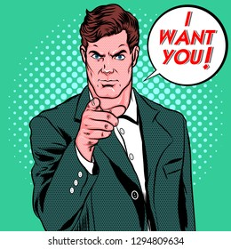 Retro Pop Art, A Man say I Want You, Pop Art Comic Style, Vector Illustration