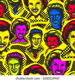 Retro Pop Art seamless pattern. Man and a woman in the style of the 50's. Vector